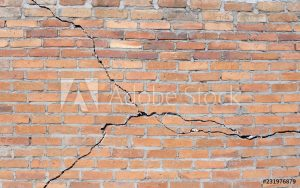 Cracked brick foundation