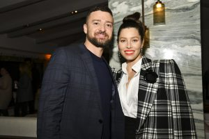 WEST HOLLYWOOD, CALIFORNIA - FEBRUARY 3: (LR) Justin Timberlake and Jessica Biel pose for the portrait at the premiere of USA Networks