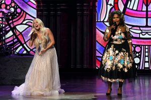 NASHVILLE, TENNESSEE - APRIL 18: (LR) In this image released on April 18, Carrie Underwood and CeCe Winans will perform on the stage at the 56th Academy of Country Music Awards at the Grand Ole Opry on April 18, 2021 in Nashville, Tennessee on.  (Photo by Kevin Mazur / Getty Images for ACM)