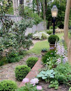 Light pole in a garden