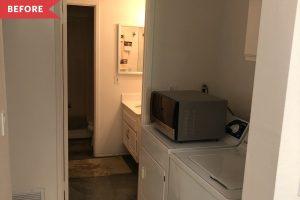 Custom Cane Webbing Cabinets in Laundry Room